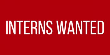 Interns Wanted on red background