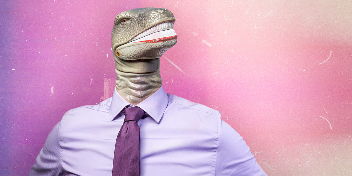 Dinosaur in dress shirt and tie